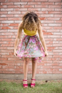 Fashion blogger wearing a floral scarf. How to turn a scarf into a skirt.