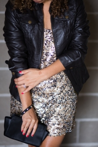 leather jacket and sparkly dress