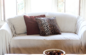 diy drop cloth cover for a loveseat