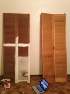 diy headboard from closet doors